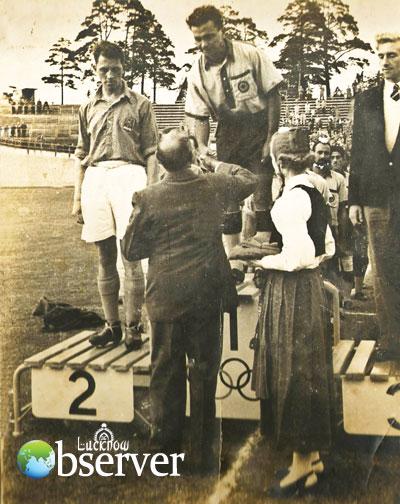 K.D. Singh receiving Olympic Gold Medal at Helsinki